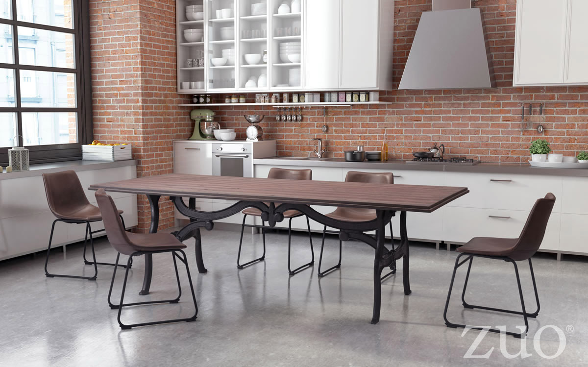 Zuo Era Bellevue Dining Table Distressed Natural