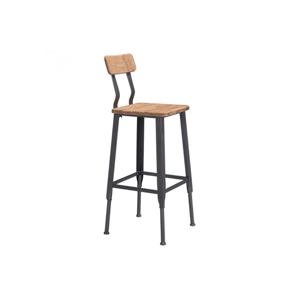 Zuo Era Clay Bar Chair Natural Pine U0026 Industrial In Gray | Boost Home
