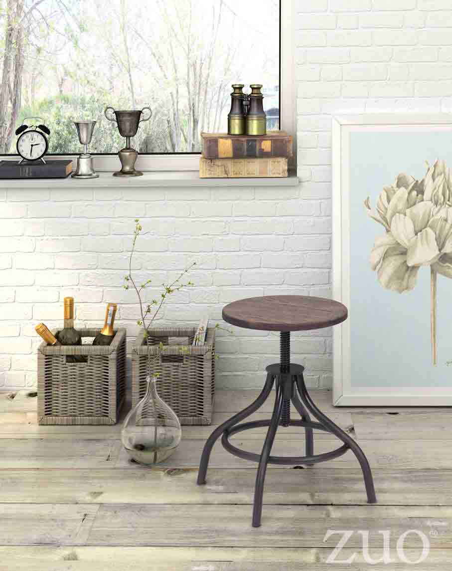Zuo Era Plato Stool In Rustic Wood Boost Home