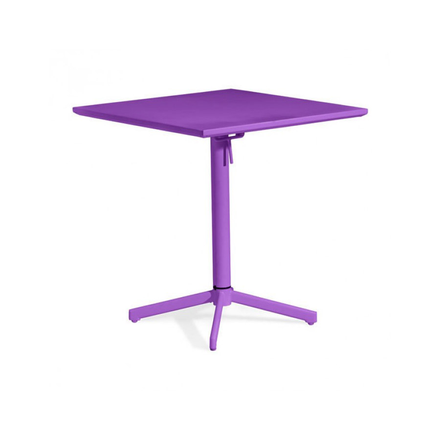Zuo Outdoor Square Folding Table, Purple Painted Steel