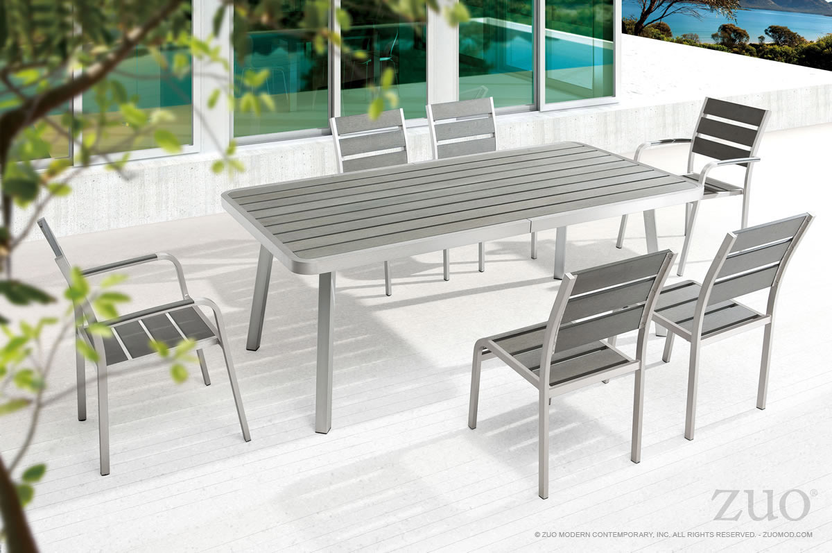 Zuo Township Patio Dining Table Brushed Aluminum Boost Home
