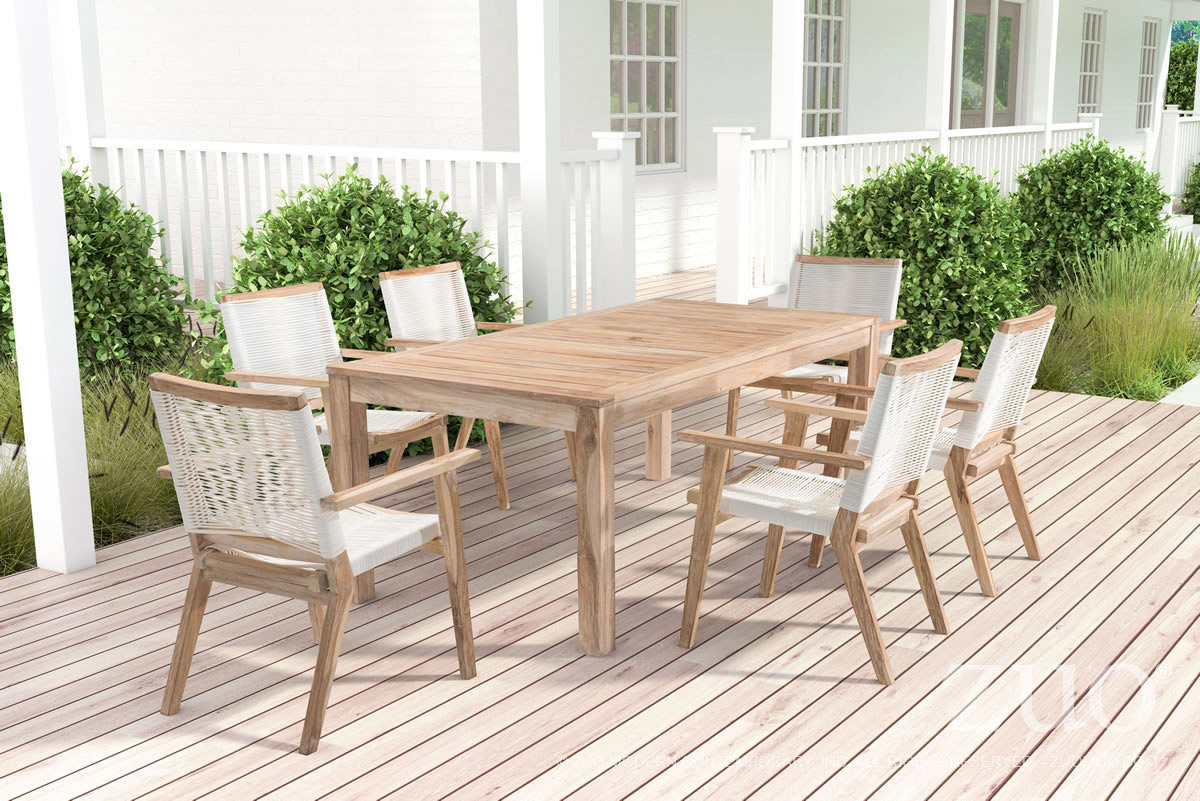 Zuo Outdoor West Port Dining Table In White Wash Boost Home