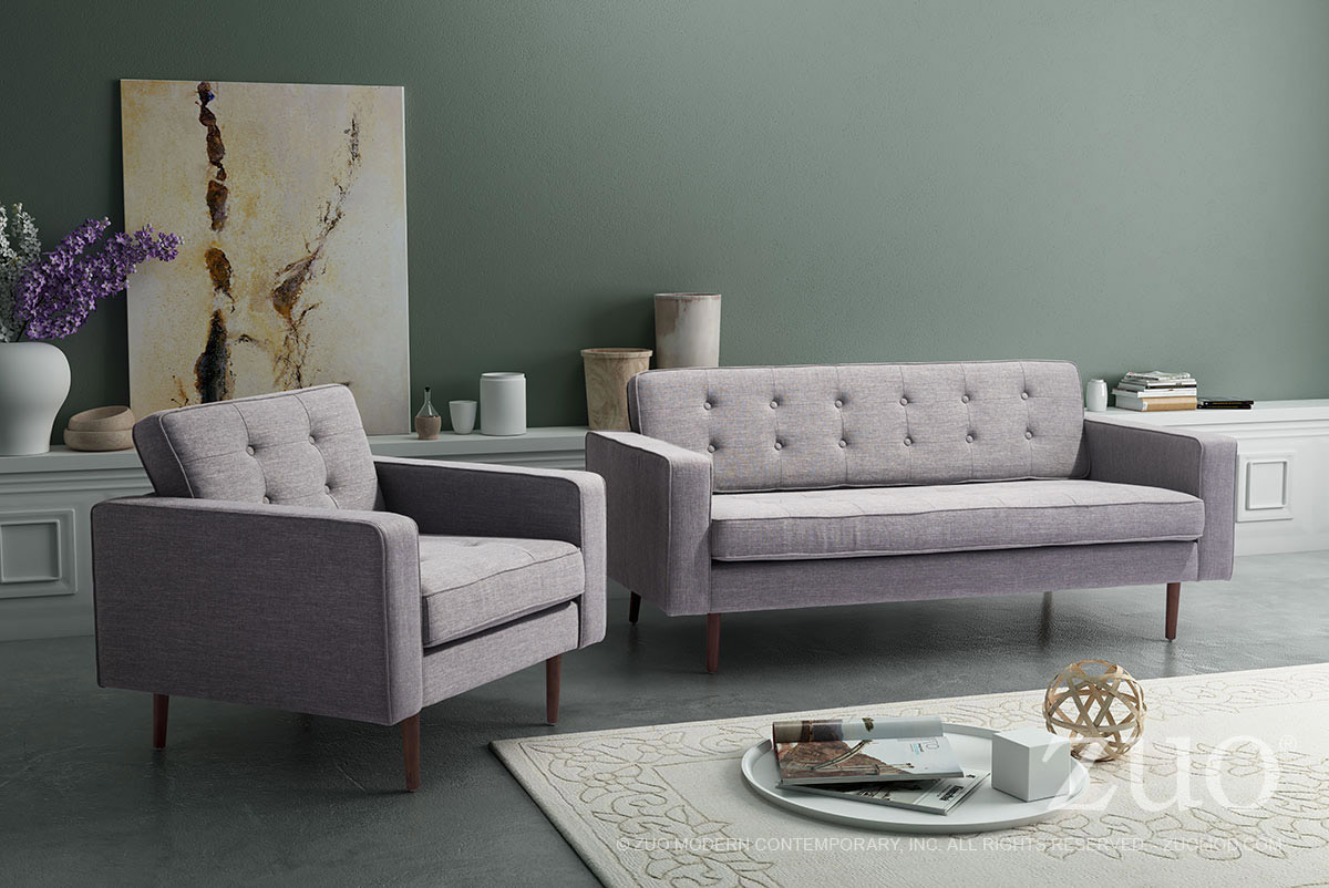 Marvelous Zuo Puget Sofa In Gray Andrewgaddart Wooden Chair Designs For Living Room Andrewgaddartcom
